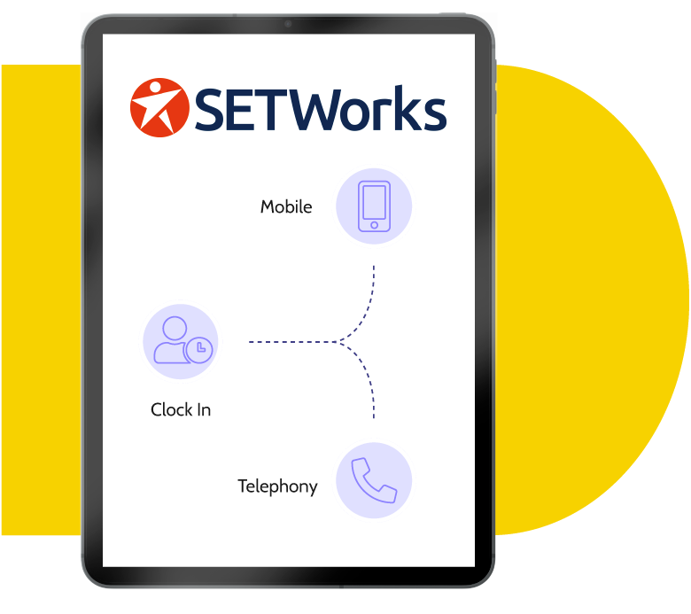 Graphic of tablet showing how the EVV services included in SETWorks software allow users to clock in via mobile and telephony.
